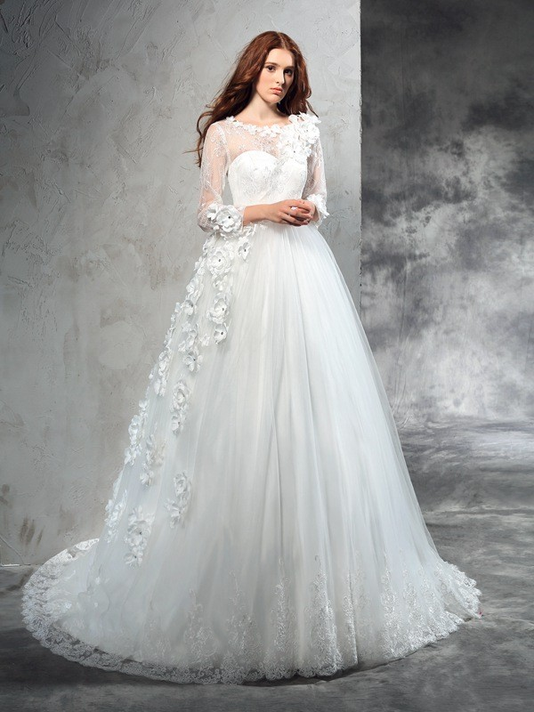 Ball Gown Sheer Neck Hand-Made Flower Long Sleeves Long Net Wedding Dresses