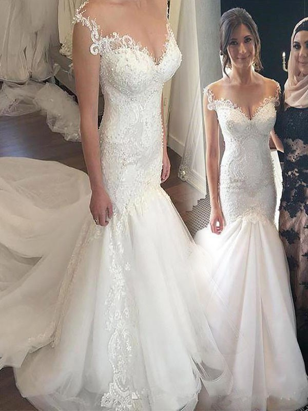 Mermaid Off-the-Shoulder Chapel Train Lace Tulle Sleeveless Wedding Dresses