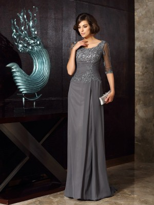 A-Line/Princess Scoop Beading 1/2 Sleeves Long Chiffon Mother of the Bride Dresses