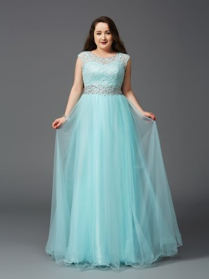 A-Line/Princess Scoop Rhinestone Sleeveless Long Elastic Woven Satin Plus Size Dresses
