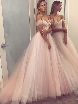 A-Line Sleeveless Off-the-Shoulder Tulle Sweep/Brush Train Dress