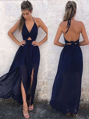 A-Line V-neck Sleeveless Floor-Length Ruched Chiffon Dresses
