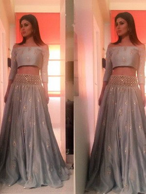 A-Line/Princess Off-the-Shoulder 3/4 Sleeves Floor-Length Beading Satin Two Piece Dresses