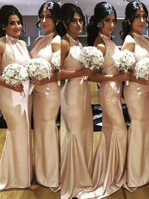 Mermaid Halter Sleeveless Floor-Length Satin Bridesmaid Dresses
