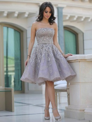 A-Line/Princess Strapless Sleeveless Sequin Knee-Length Tulle Dresses
