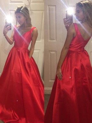 A-Line/Princess V-Neck Sleeveless Satin Sweep/Brush Train Dresses