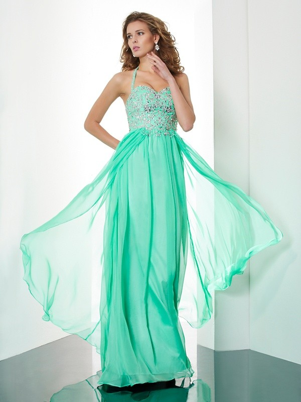A-Line/Princess Halter Sleeveless Beading Applique Long Chiffon Dresses
