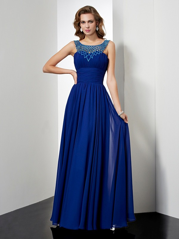 Empire High Neck Sleeveless Beading Long Chiffon Dresses