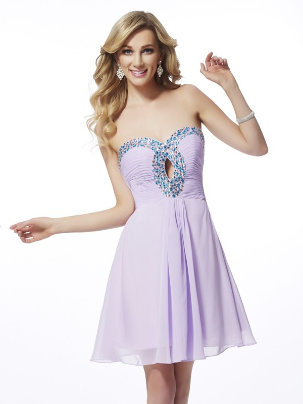 A-Line/Princess Sweetheart Sleeveless Beading Chiffon Short Dresses