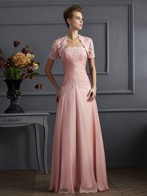 A-Line/Princess Sweetheart Sleeveless Applique Long Chiffon Mother of the Bride Dresses