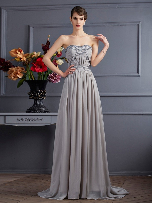 A-Line/Princess Sweetheart Sleeveless Beading Pleats Long Chiffon Dresses