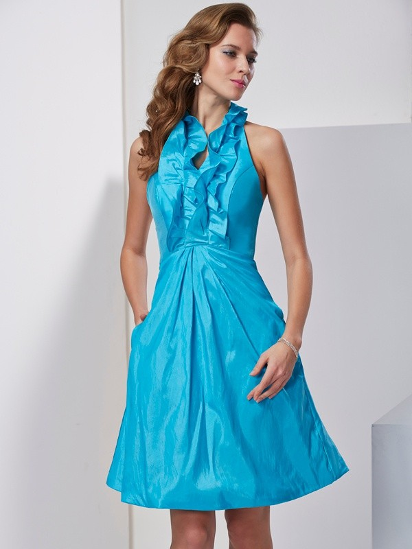 A-Line/Princess Halter Sleeveless Ruffles Short Taffeta Dresses