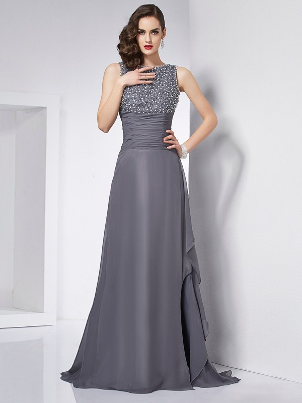 A-Line/Princess Jewel Sleeveless Beading Long Chiffon Dresses
