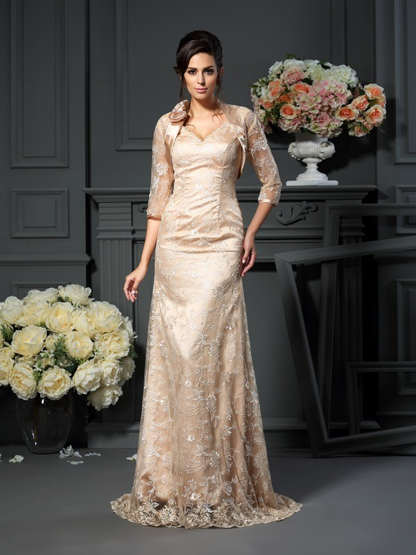 A-Line/Princess V-neck Lace Sleeveless Long Elastic Woven Satin Mother of the Bride Dresses