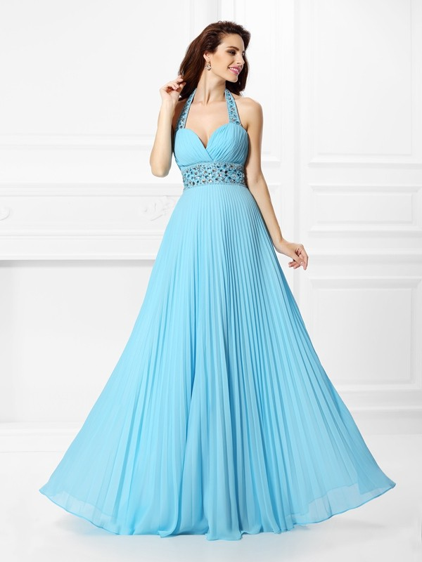 A-Line/Princess Halter Rhinestone Sleeveless Long Chiffon Dresses