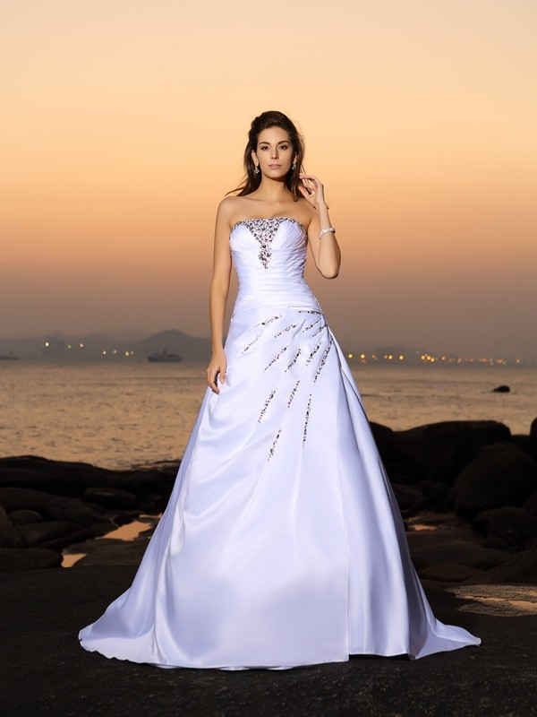A-Line/Princess Strapless Beading Sleeveless Long Satin Beach Wedding Dresses
