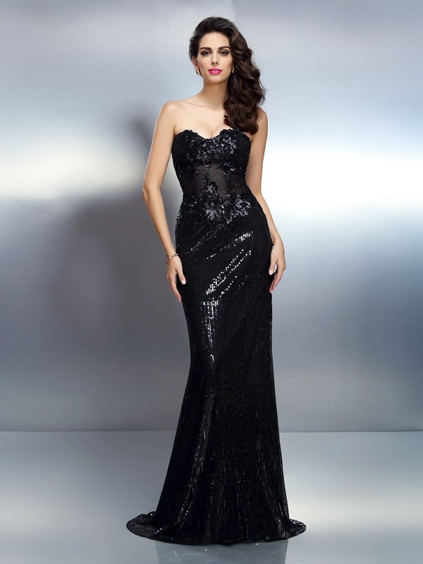 Trumpet/Mermaid Sweetheart Applique Sleeveless Long Lace Dresses