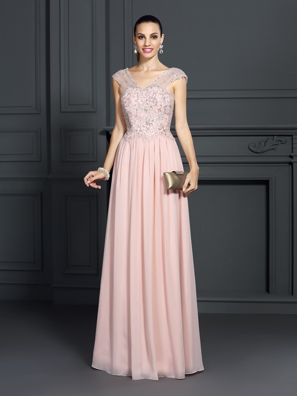 A-Line/Princess Straps Applique Sleeveless Long Chiffon Dresses