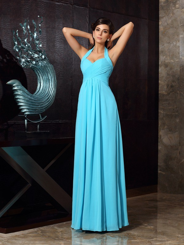 A-Line/Princess Halter Pleats Sleeveless Long Chiffon Dresses