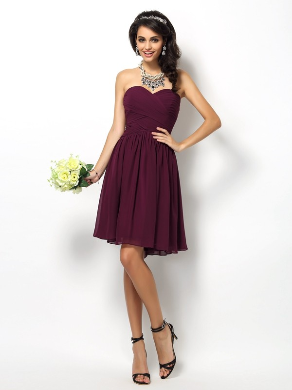 A-Line/Princess Sweetheart Pleats Sleeveless Short Chiffon Bridesmaid Dresses