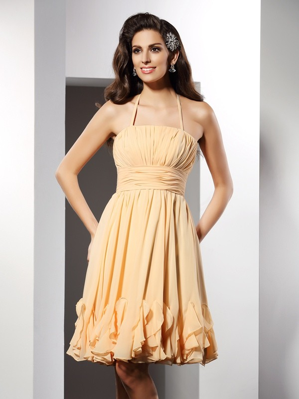 A-Line/Princess Halter Ruffles Sleeveless Short Chiffon Cocktail Dresses