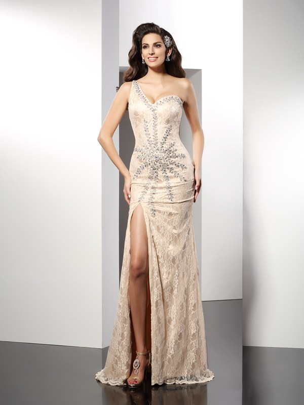 Sheath/Column One-Shoulder Sleeveless Long Elastic Woven Satin Dresses