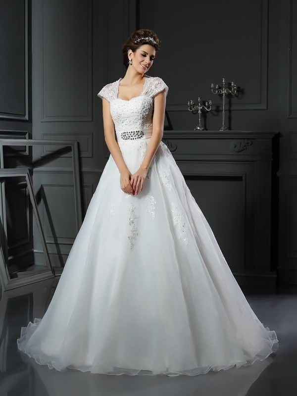 Ball Gown Square Beading Sleeveless Long Organza Wedding Dresses