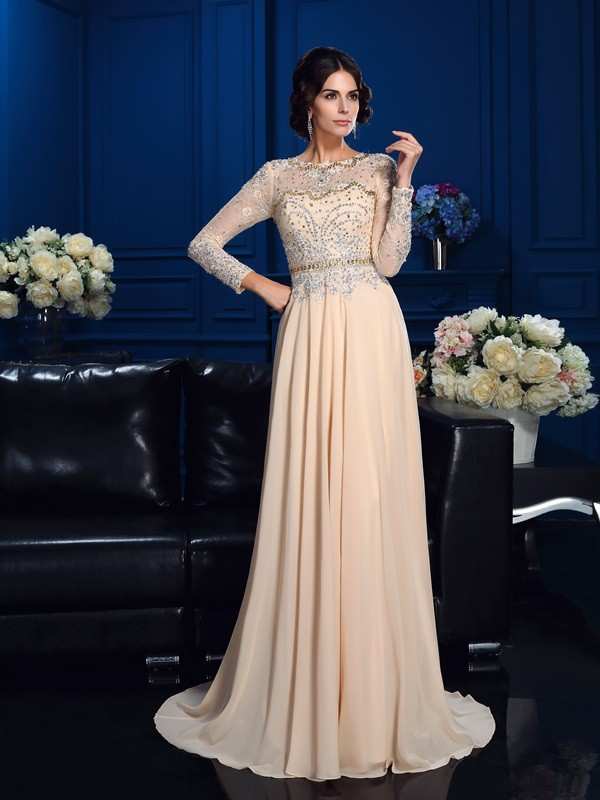 A-Line/Princess Scoop Beading Long Sleeves Long Chiffon Mother of the Bride Dresses