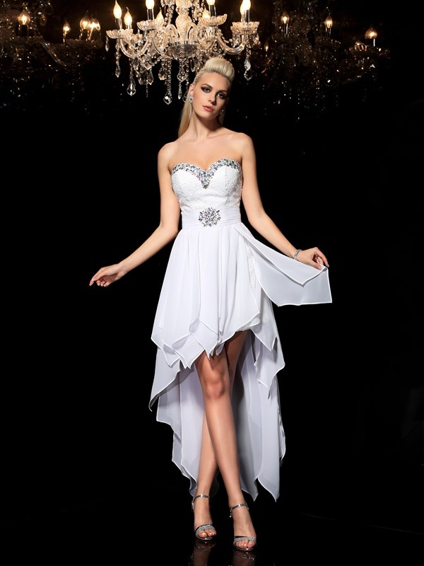 A-Line/Princess Sweetheart Beading Sleeveless High Low Chiffon Cocktail Dresses