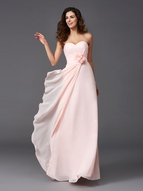 A-Line/Princess Sweetheart Hand-Made Flower Sleeveless Long Chiffon Bridesmaid Dresses