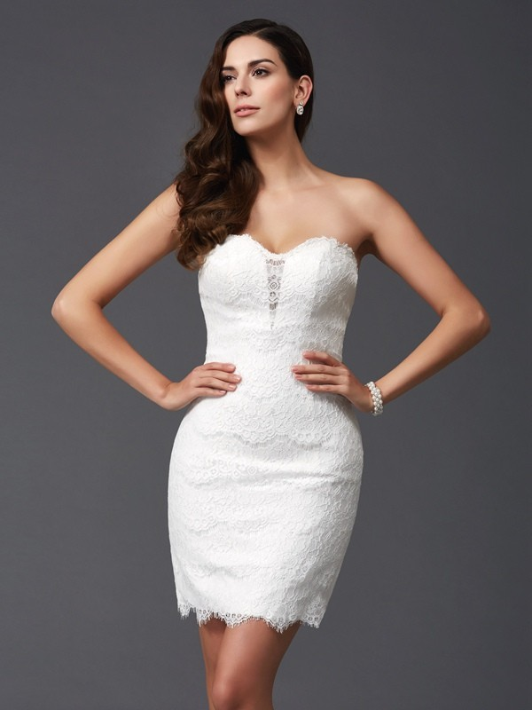 Sheath/Column Sweetheart Lace Sleeveless Short Lace Dresses