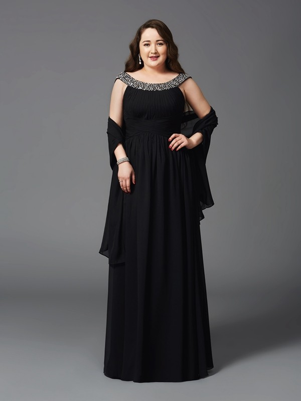 A-Line/Princess Scoop Rhinestone Sleeveless Long Chiffon Plus Size Dresses