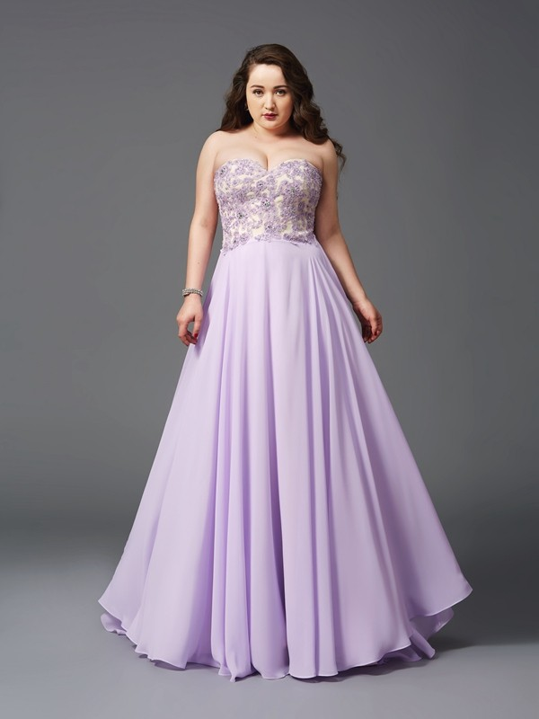 A-Line/Princess Sweetheart Lace Sleeveless Long Chiffon Plus Size Dresses