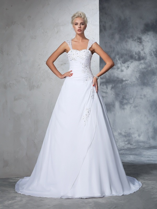 Ball Gown Straps Applique Sleeveless Long Chiffon Wedding Dresses