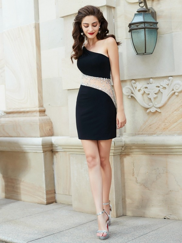 Sheath/Column One-Shoulder Sleeveless Beading Short/Mini Net Dresses