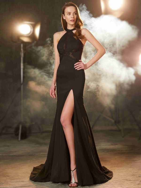 Sheath/Column Jewel Sleeveless Sweep/Brush Train Beading Elastic Woven Satin Dresses