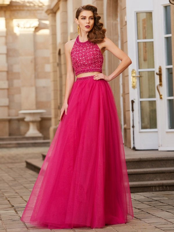 A-Line/Princess Halter Beading Sleeveless Tulle Floor-Length Two Piece Dresses