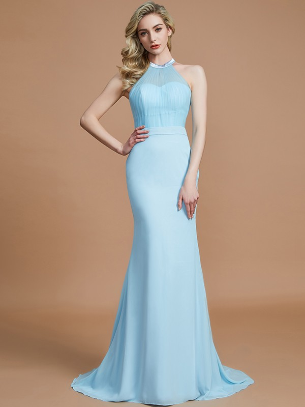 Mermaid Sleeveless Scoop Sweep/Brush Train Chiffon Bridesmaid Dresses