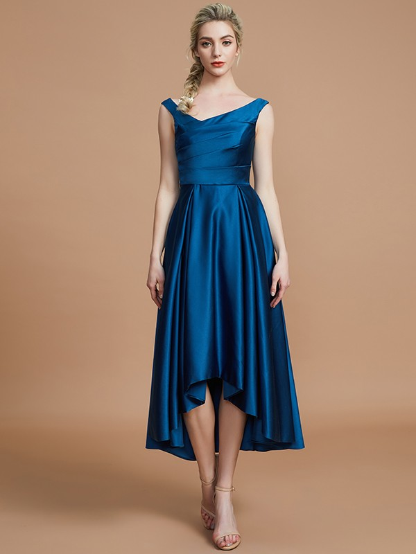A-Line V-neck Satin Asymmetrical Sleeveless Bridesmaid Dresses