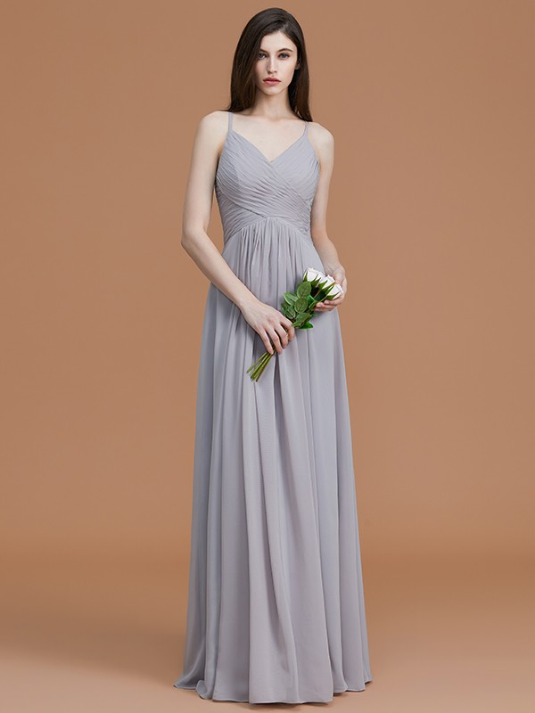 A-Line Spaghetti Straps Sleeveless Floor-Length Chiffon Bridesmaid Dress