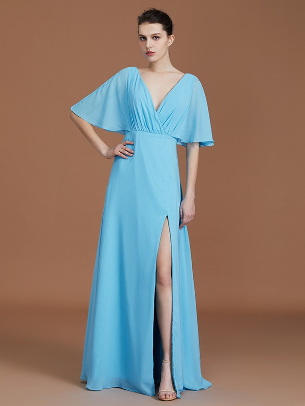 A-Line V-neck 1/2 Sleeves Floor-Length Chiffon Bridesmaid Dress