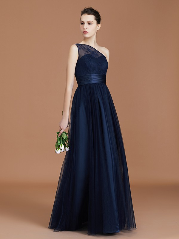 A-Line One-Shoulder Lace Tulle Sleeveless Floor-Length Bridesmaid Dress