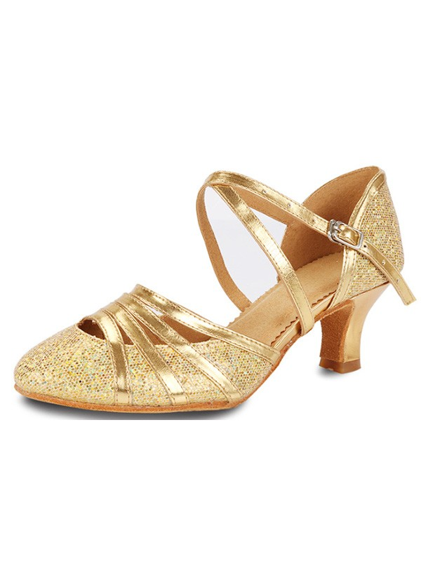 Unique Sparkling Glitter Cone Heel Closed Toe Women's Sandals
