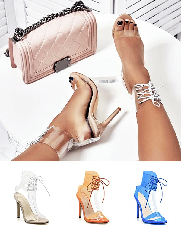 Peep Toe PU Leather Stiletto Heel Women's Sandals With Lace Up
