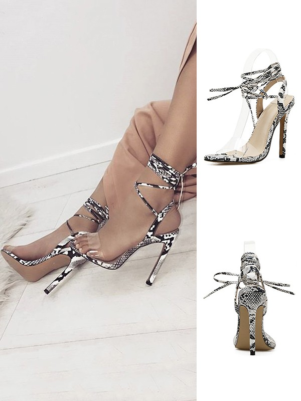 Peep Toe Stiletto Heel PU Women's Sandals With Lace Up