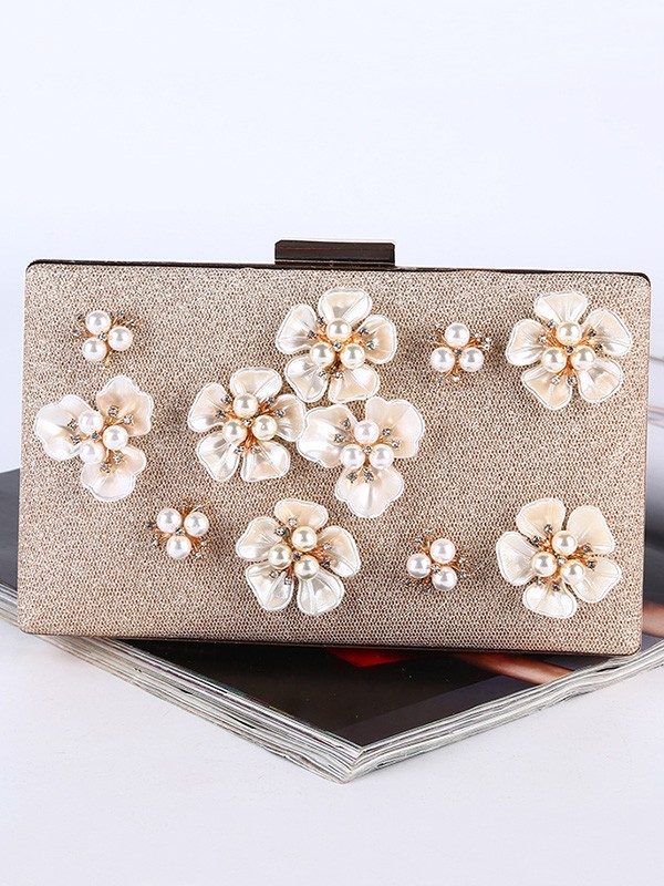 Graceful Flowers Pearl Evening/Party Handbags For Women