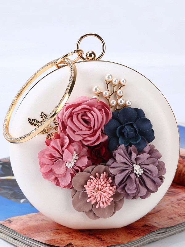 Round PU Flowers Evening/Party Handbags For Women