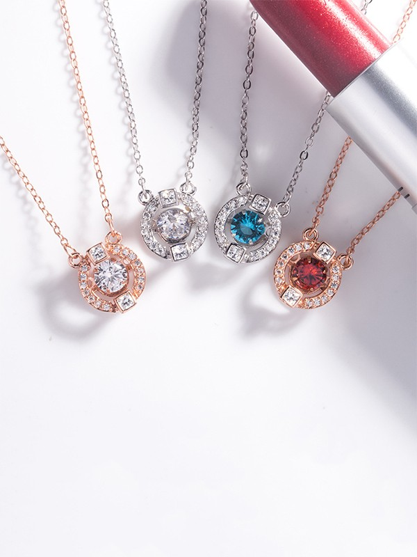 Fashion S925 Silver With Rhinestone Necklaces