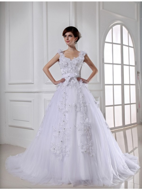 Ball Gown Beading Long Satin Tulle Strapless Sleeveless Wedding Dresses