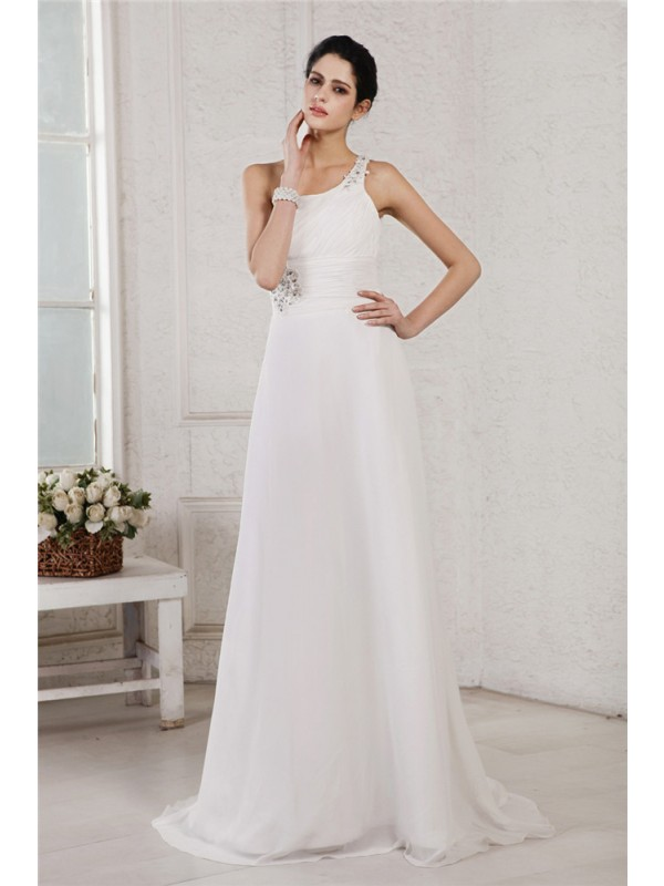 A-Line/Princess One-Shoulder Sleeveless Beading Applique Long Chiffon Wedding Dresses